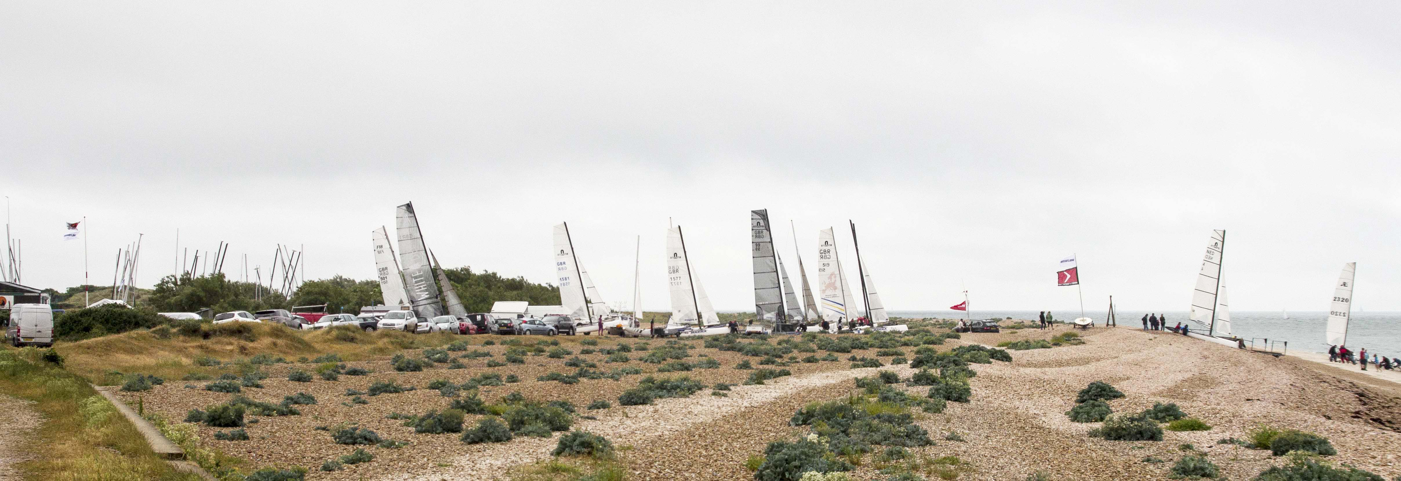 Boats lined up ready to launch for the start of the 2016 Solent Forts Race