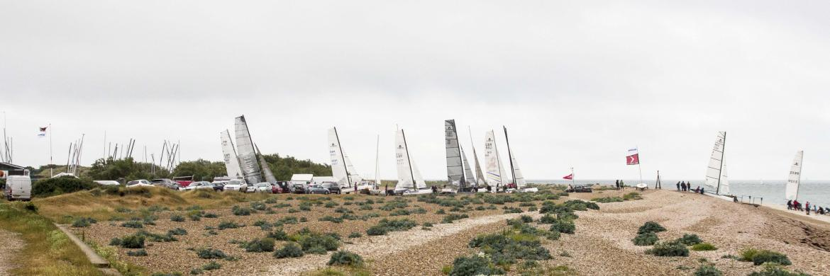 Boats lined up ready to launch for the 2016 Solent Forts Race